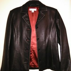 Petite Sophisticate Leather Jacket